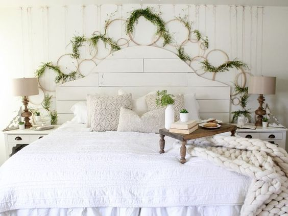 CottonStem.com farmhouse bedroom white shiplap cozy bed embroidery hoop wreath