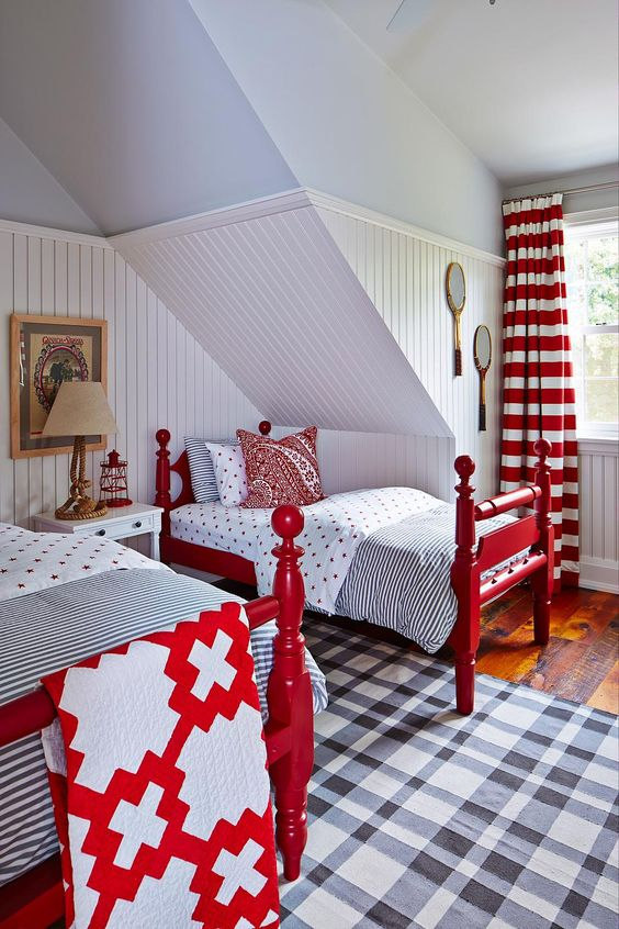 Red white and blue #moderncountry bedroom in #beachhouse designed by #SarahRichardson