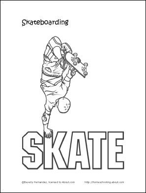 Homeschooling Skateboard Party Birthday Coloring Pages Skateboard