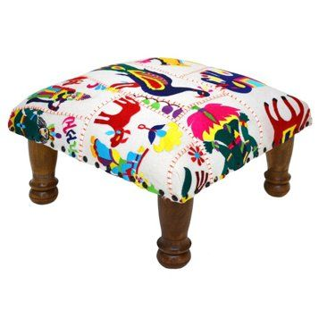 Check out this item at One Kings Lane! Lola Footstool, White/Fuchsia