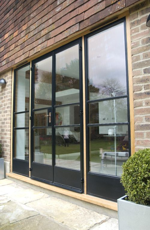 Replace windows next to door in snug with full length for Full glass patio door