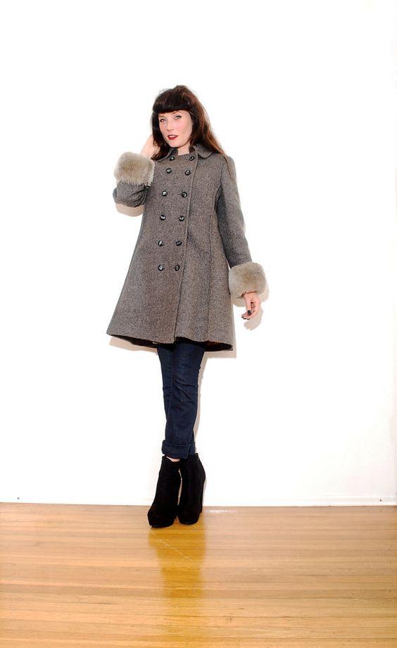 1960s SWING COAT // small medium // wool coat, 1960s coat, faux fur coat, mod military, peacoat, wool pea coat, winter coat