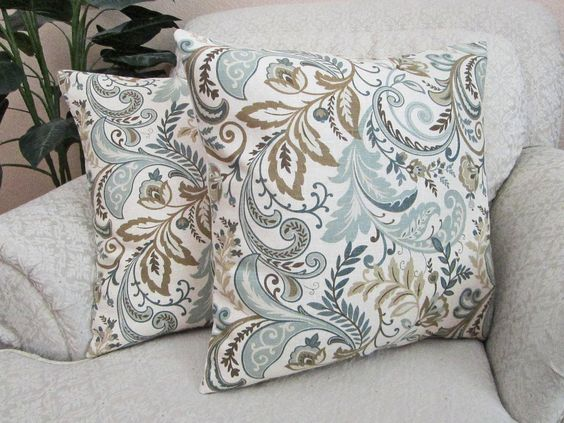 Throw Pillow Cover Cushion Cover Decorative Pillow Cover Slate Blue Beige Taupe Set of Two - 18 ...