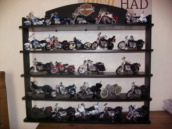 Harley Davidson collectors bikes and display shelf. ex. cond.   eBay