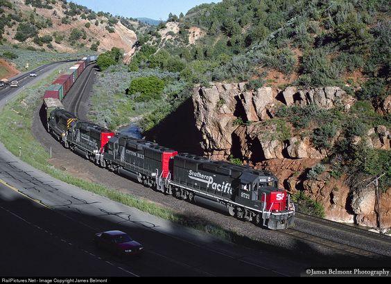 SP 9721 Southern Pacific Railroad EMD GP60 at Narrows, Utah by James Belmont