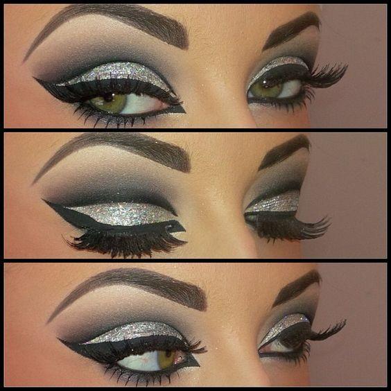 Glitzeraugen, Glitter Augen Make-up and Augen-Make-up on Pinterest