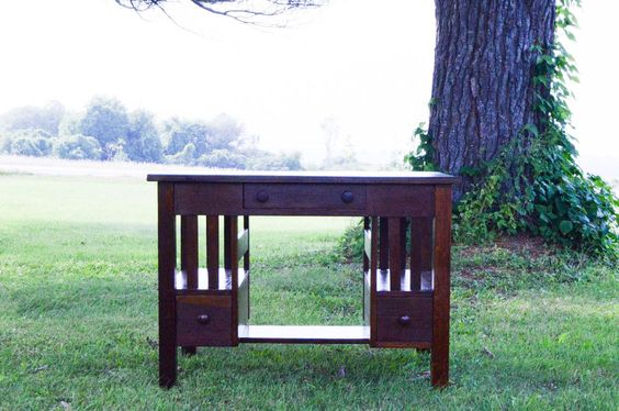 Mission Oak Library Table w/ 3 Drawers & Bookshelves 1900-1915 REFURBISHED #MissionArtsCrafts #Unknown
