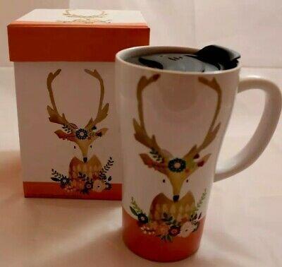 Tall Ceramic Deer Floral Travel Mug 16 Oz Sealed Lid W Gift Box Coffee Latte Ebay Mugs Coffee Latte Stainless Steel Coffee Tumbler
