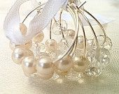 Faux pearls & clear crystal beaded wi e glass identifier charms - Weddings & Engagements - Gift ideas Set of 6