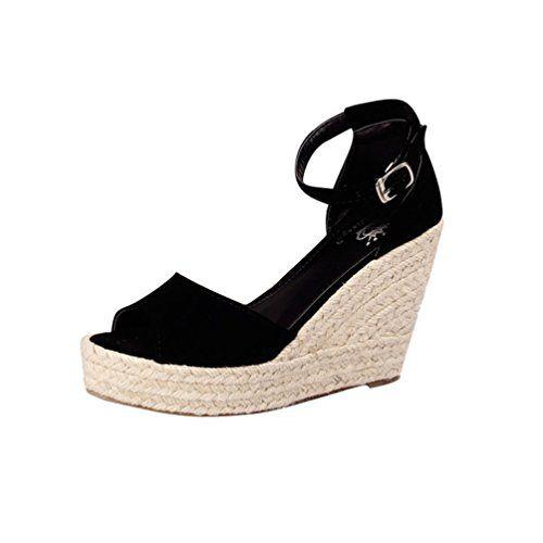 Sandales compens/ées d/ét/é pour Femmes avec Plateforme et Bride /à la Cheville Sandales d/ét/é /à Point Ouvert Espadrilles /él/égantes Chaussures pour Femme