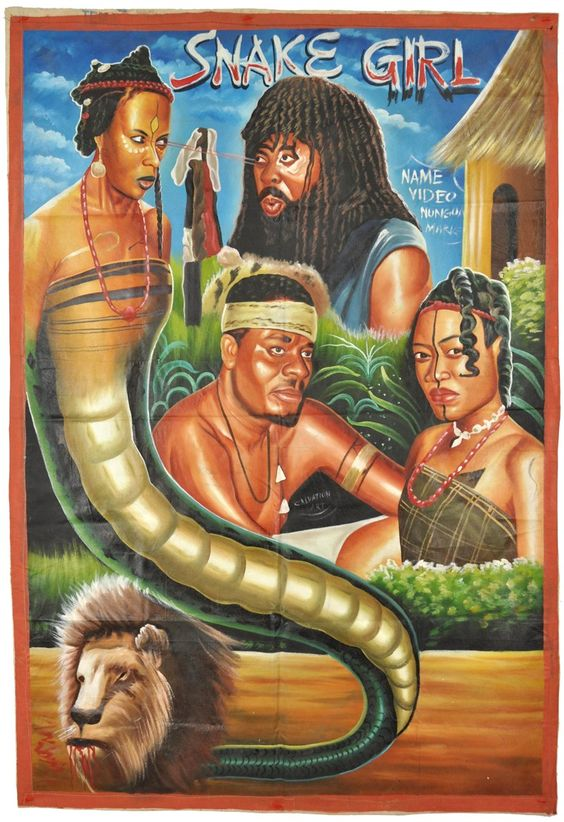 Ghanaian Hand-Painted Movie Poster For Snake Girl  Poster -8628