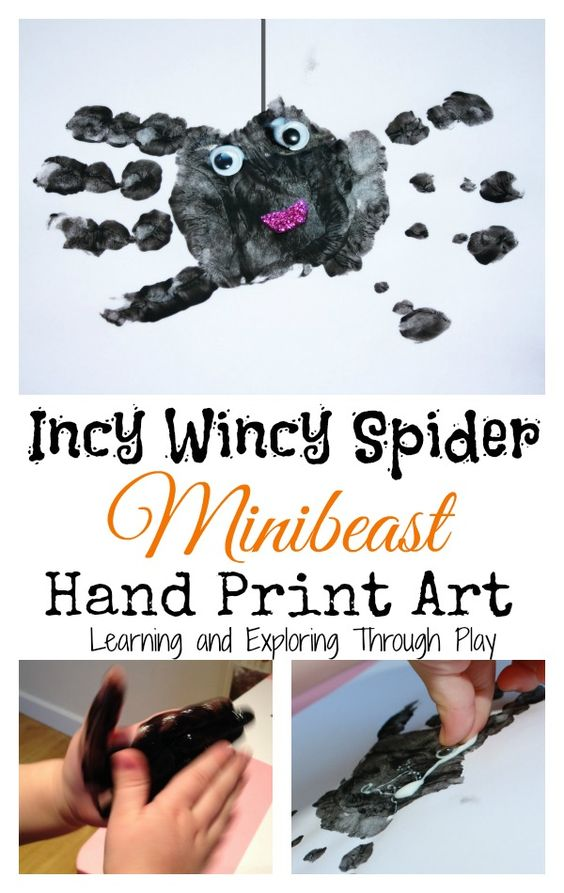 Minibeast handprint art. Incy Wincy Spider Activities. Nursery Rhyme Arts and Crafts. Learning and Exploring Through Play.: