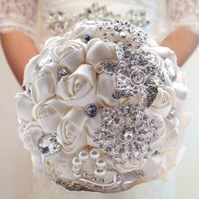 Gorgeous nupcial flores ramos de novia elegante perla de la novia dama de honor Wedding Bouquet Crystal Sparkle 2015 nuevo buque de noiva(China (Mainland)):