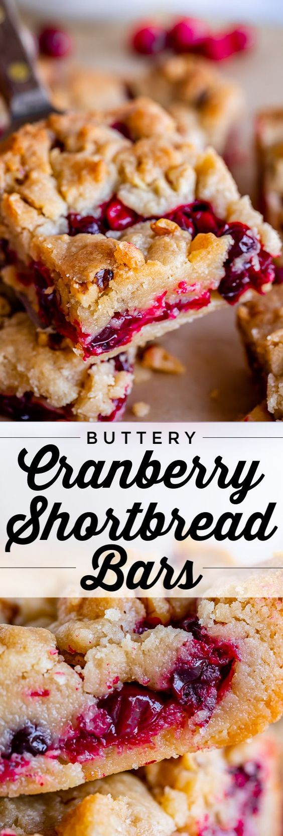 Cranberry Shortbread Bars from The Food Charlatan. Fresh cranberries sparkle between two layers of the butteriest shortbread you've ever had! These cranberry bars are so easy to put together; the recipe is foolproof. They are sturdy enough to be eaten with your hands, but are also amazing warmed up and topped with a scoop of ice cream! #cranberry #bars #dessert #Thanksgiving #Christmas #easy #recipe #recipe #fresh #shortbread #butter