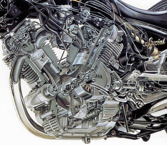 Internals Of A Yamaha Virago V Twin Engine Moto