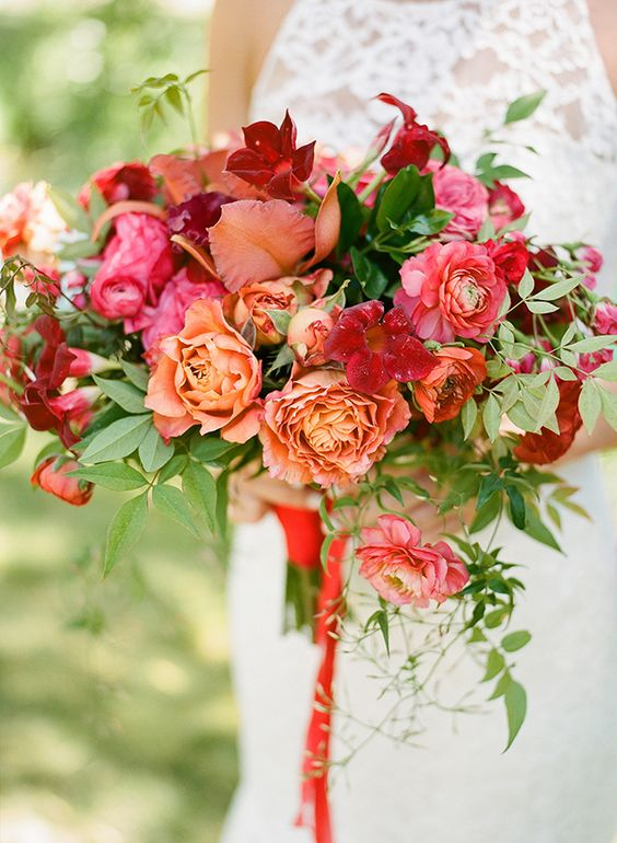 Bold Mediterranean Inspired Wedding at Black Swan Lake - Bold bouquet - red orange and pink bouquet
