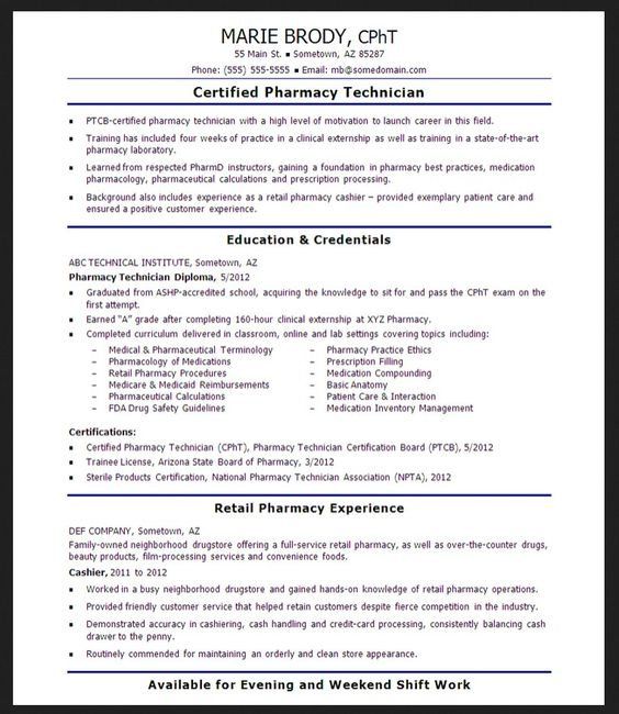 Pharmacy technician License \ Resume - http\/\/resumesdesign - laboratory technician resume