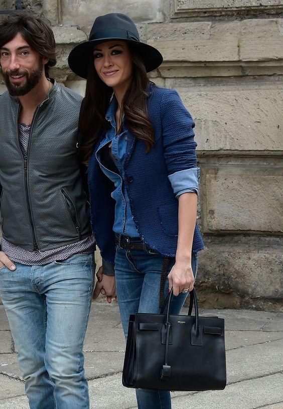 "huge leather handbags - Giorgia Palmas with Saint Laurent ""Sac de Jour"" tote. Milan ..."