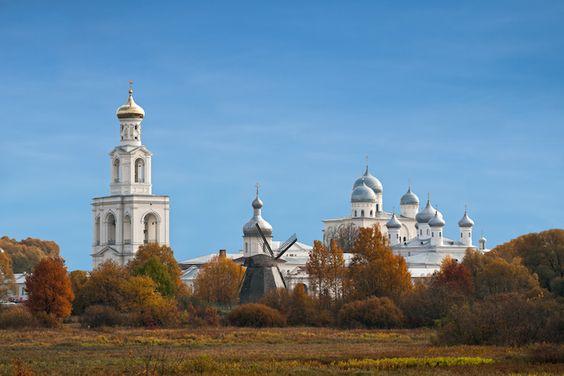 View Yuriev monastery, Veliky Novgorod, Russia