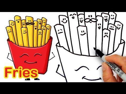 how to draw cartoon fries cute and easy kids fun stuff