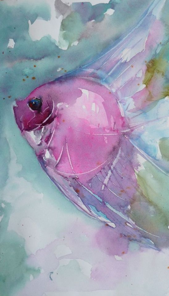 Le Poisson Rose Watercolorpainting Watercolor Painting Rose In