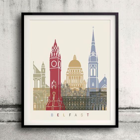 Belfast skyline poster  Fine Art Print Glicee Poster by Paulrommer