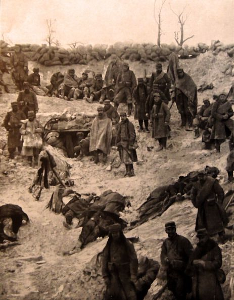 WW1, 1916. French soldiers takeover a German trench position as enemy…