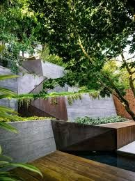 contemporary concrete retaining wall steps - Google Search
