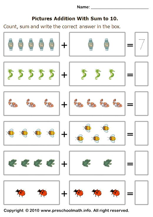 basic addition worksheets with sum to 10 | 1ºano MATEMÁTICA ...