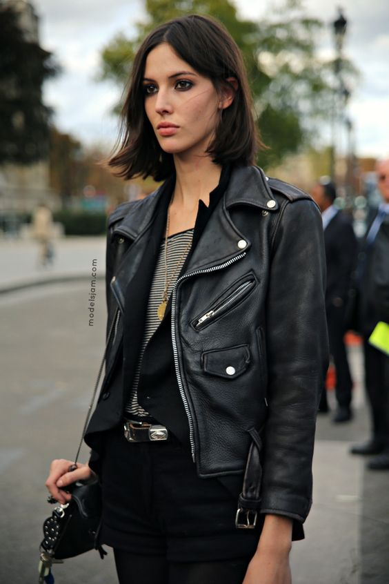 Ruby Aldridge wearing a leather moto jacket in Paris