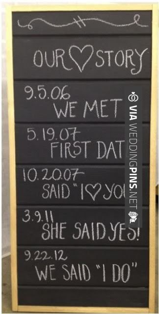 So awesome! - DIY Wedding Decorations - Love Story Sign - but cuter. And, since we went on our first date, it didn't pan out, then a year and a half later, we went out again and it did! | CHECK OUT THESE OTHER FANTASTIC INSPIRATIONS FOR GREAT WEDDING DECOR TRENDS 2016 AT WEDDINGPINS.NET | #weddingdecor2016 #weddingdecor #decor #2016 #trends #weddings #weddingvows #vows #tradition #nontraditional #events #forweddings #iloveweddings #romance #beauty #planners #fashion #weddingp