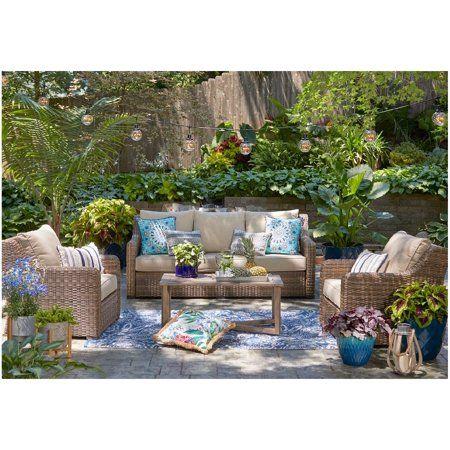 Better Homes And Gardens Hawthorne Park 4 Piece Sofa Conversation Set Walmart Com In 2020 Teak Patio Furniture Outdoor Patio Decor Patio Decor