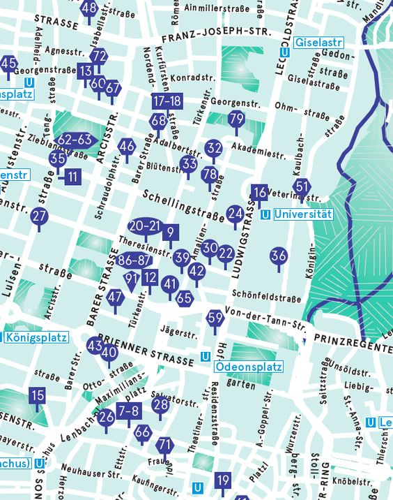 From March 8th till March 14th Munich Jewellery Week  - MAP with NUMBER of each event for location:
