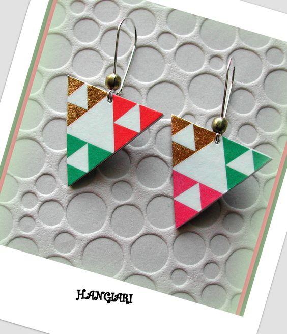 Paire de boucles d'oreilles: triangulaires*motifs…