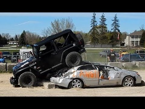 Jeep Drives Over Two Cars At Durham 4x4 Car Crush Challenge With