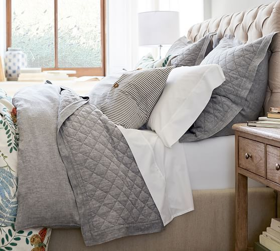 Belgian Flax Linen Diamond Quilt Amp Sham Flagstone Potterybarn Bed Linens Luxury Luxury Bedding Master Bedroom Cheap Bed Sheets