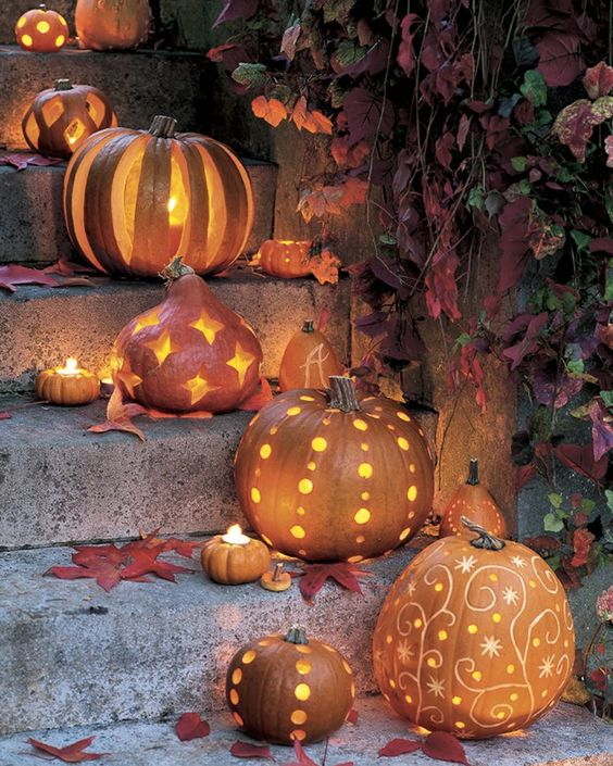 deco jardin halloween citrouille lumineuse