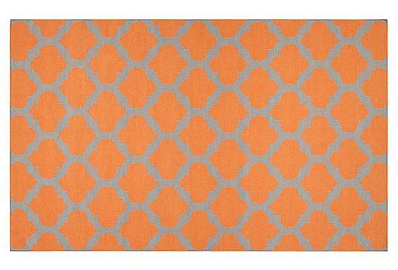 Laurel Rug, Pumpkin/Flint Gray