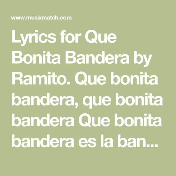Lyrics For Que Bonita Bandera By Ramito Que Bonita Bandera Que Bonita Bandera Que Bonita Bandera Es La Bandera Puertorriqueña Que Songs Song Lyrics Lyrics