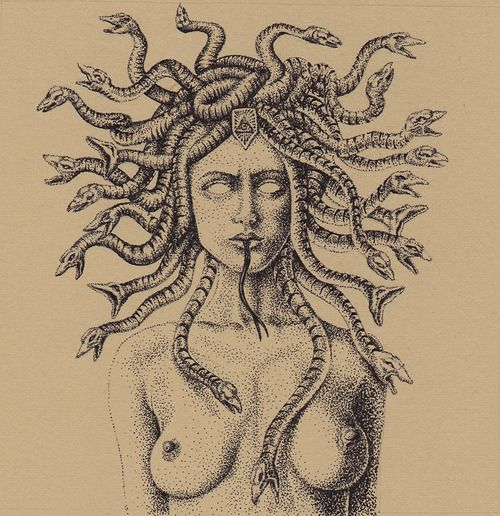 """""""Medusa"""" by Ronnie Ray Mendez for #TheGrotesque 4.5 x 4.5 inches © 2014 Archival Ink on BFK Paper"""