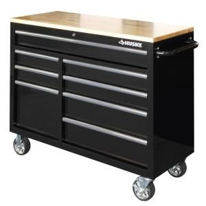Husky Heavy-Duty 46 in. 8-Drawer Mobile Workbench with 1 in. Solid Wood Top HOTC4608B1CD at The Home Depot - Mobile