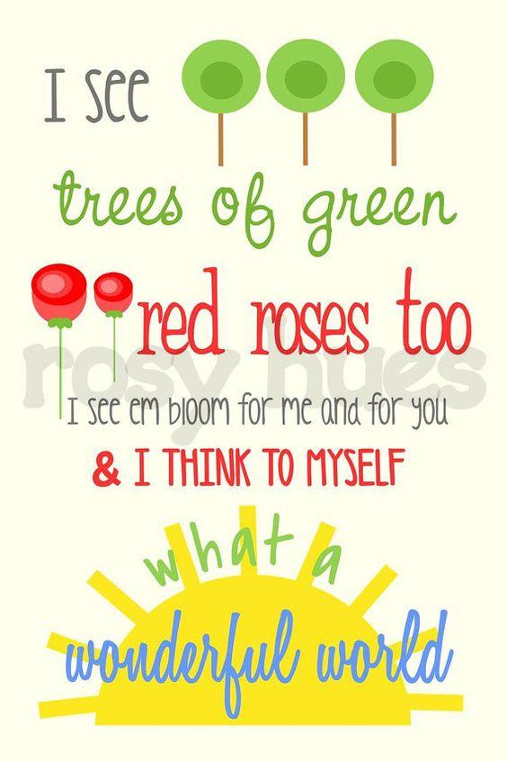 What A Wonderful World Kid Wall Art And Lyrics On Pinterest