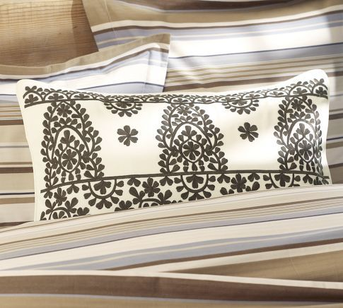 Medina Embroidered Lumbar Pillow Cover
