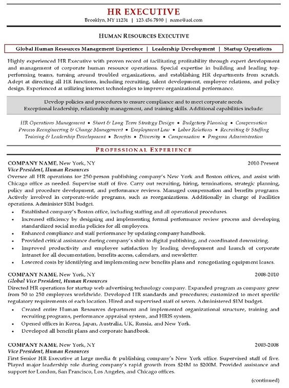 Executive Resumes - Google Search resume samples Pinterest - resume human resources