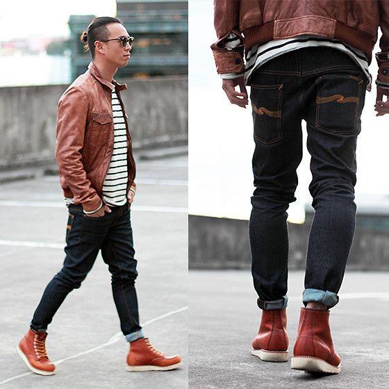 red wing // denim // brown jacket // striped shirt   Men's Fashion ...