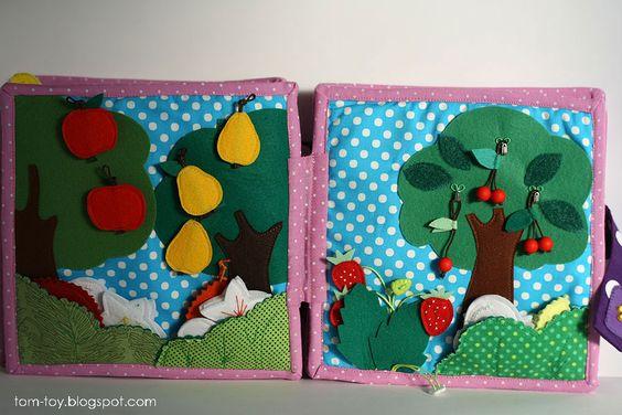 Quiet book for Caitlyn, busy book, gift for children, fruits garden, felt apples, pears, strawberres and cherry, развивающая книжка, фруктовый сад, яблоки груши клубника и вишня