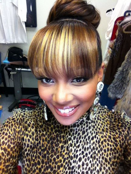 Monica Bangs And Bun Hair It Is Pinterest