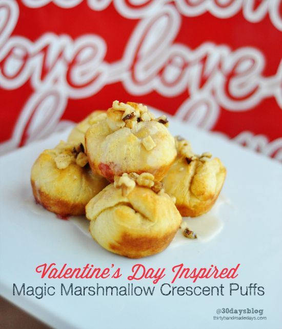 Valentine's Inspired Magic Marshmallow Crescent Puffs - easy + delicious! #valentines