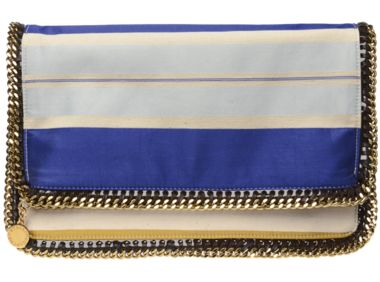 Stella McCartney cotton/linen and silk Falabella clutch bag ...