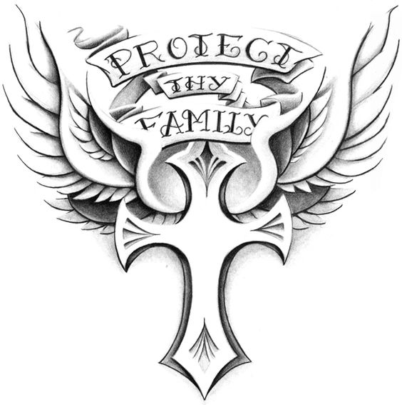 Family Tattoo Drawings: ... Ankle Shoulder Tattoos Protect